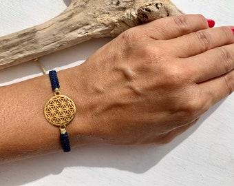 Flower of life bracelet, life flower gold, symbol harmony and energy, macrame bracelet, many colors possible, length adjustable