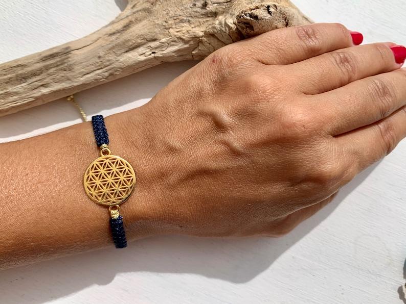 Flower of life bracelet life flower gold symbol harmony and 18- Dunkelblau
