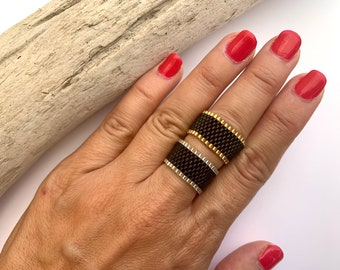 simple ring hypoallergenic, metal-free, black with silver or gold, stacking ring, made of Miyuki Delica pearls