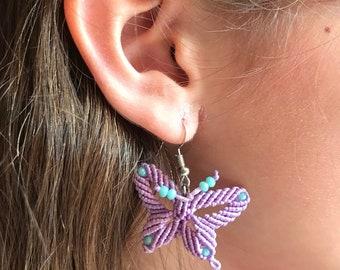 Earrings Butterfly, Gift Girl, Gift Ladies, Earrings Purple and Light Blue, Macramé Earrings Silver 925, Purple Hanging Earrings