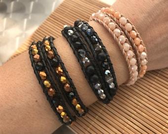 Gift women, leather bracelet women, wrap bracelet, bracelet for women, jewelry hypoallergenic, great gift