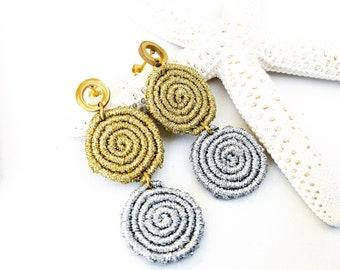 Macramé earrings gold and silver, bohochic earrings long, gift idea for women