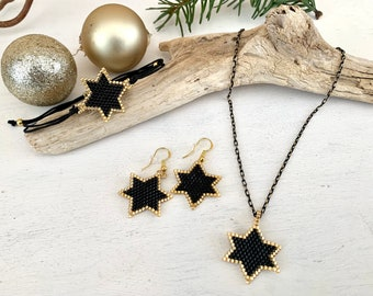 Christmas jewelry set, jewelry stars, necklace bracelet earrings, gift for women, from Miyuki Delica beads in black gold