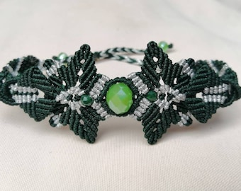 Macrame boho bracelet green, macrame bracelet wide, macrame cuff bracelet, adjustable length, jewelry hypoallergenic, many colors possible