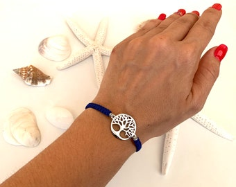 Tree of Life Bracelet, Tree of Life Silver, Many Colors Possible, Macrame Bracelet, Length Adjustable, Gifts for Women