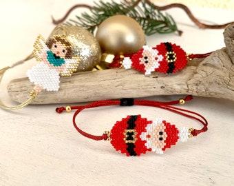 Bracelet Santa Claus Snowman Angel, Christmas Jewelry, Bracelet Christmas, Miyuki Delica Pearls, hypoallergenic, great gift woman