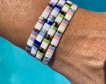 colorful bracelet, square made of high quality glass beads Miyuki half tila, stackable, elastic, stretchy, gift woman