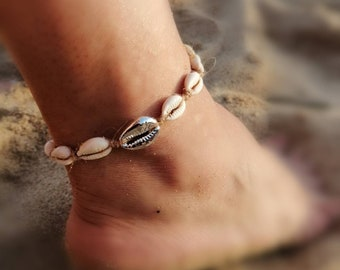 Anklet Kauri shells, ankle chain shell silver or gold, ankle bracelet, adjustable length, shell chain, cowrie anklet, shell footlace