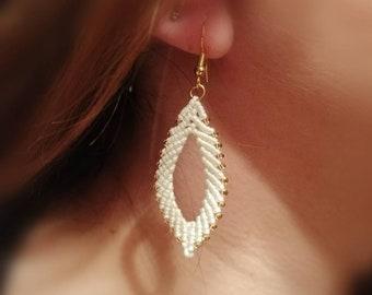 Long macrame earrings leaves, leaf earrings with miyuki beads, micromacrame boho style, silver 925 earrings, color selectable