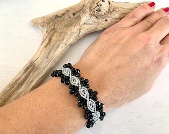 elegant bracelet, rose bud, macramé bracelet hypoallergenic, gift for girlfriend, adjustable in length