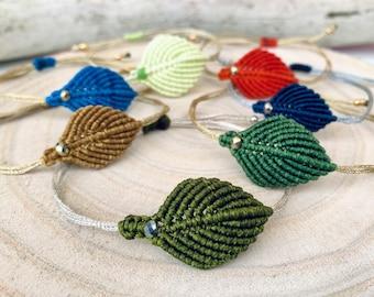 Bracelet leaf macrame, macrame bracelet boho style, minimalist, leaves jewelry hypoallergenic, length adjustable, color selection, autumn