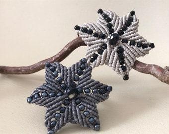 Statement ring flower, large ring hypoallergenic, macrame ring handmade, bohostyle ring, gift woman