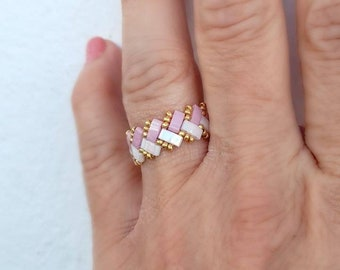 Exclusive pearl ring, ring of high quality glass beads Miyuki half tila, gift women, unique, handmade ring