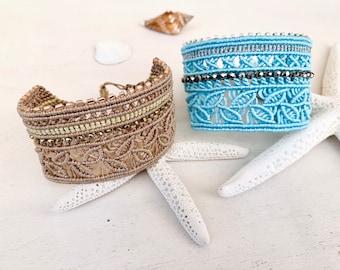 Cuff bracelet summer, Wide macrame bracelet boho, bracelet sheets, handmade macrame jewelry, color selection, gift woman