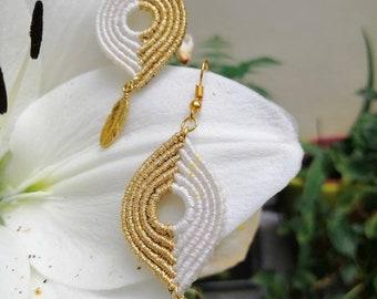 Earrings boho, Earrings with feather, Earrings Silver 925, Macramé Earrings, Earrings gold and white, Summer Earrings, Earrings Long