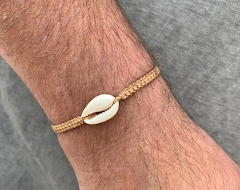 Men bracelet, Kauri shell, men's bracelet mens, men's bracelet summer, friendship bracelet, length adjustable, many colors