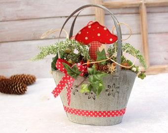 "Autumn decoration ""Fly agaric bag"" * Window decoration * Table decoration"