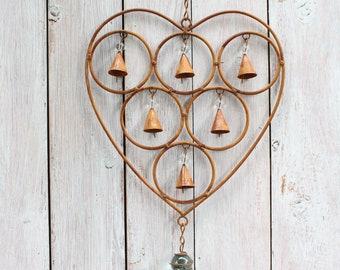 Heart Bell Hanger Window Decoration Rust Look