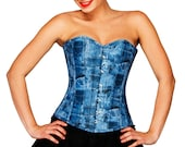 Women 39 s Blue Denim Print Leather Vintage Costume Limited Stock Overbust Corset Top