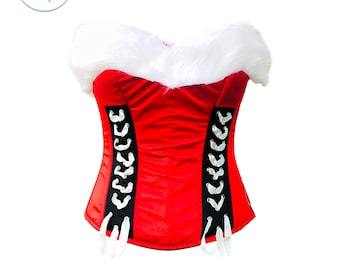 Red Satin White Fur Costume  Overbust Top