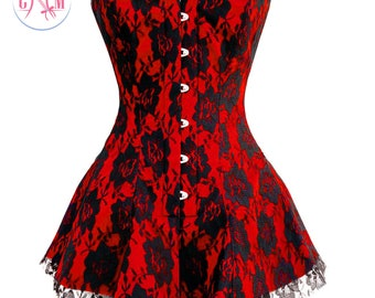Red Satin Black Net Back Lace Up Overbust Corset Dress
