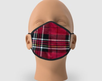 Red Flanel Cotton Re-Usable Mask, Pack of 5