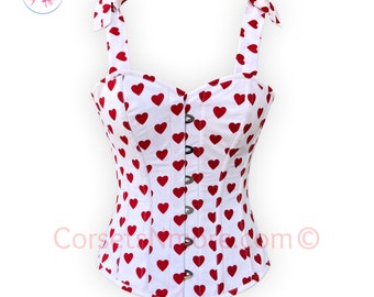 Heart Printed Overbust Corset with Straps tied at Shoulders