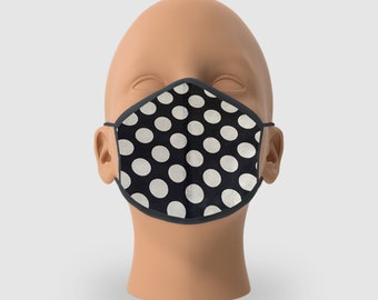 Pack of 5, Polka Dots Printed Reusable Mask with Inside Cotton Twill