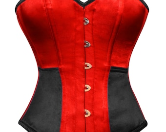 Red and Black Corset Satin Costume Overbust Bustier Top