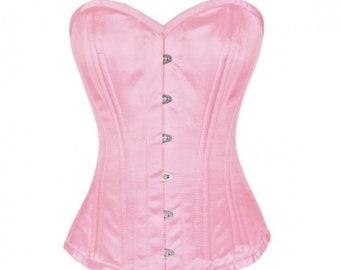 Pink Satin Spiral Steel Boned Corset Fantasy Costume Waist Training Overbust Bustier