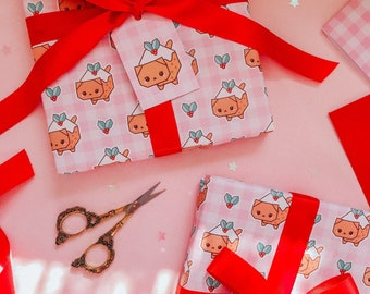 Gingham Christmas Pudding Cat Wrapping Paper Set - Cute Origami Cat Gift Wrap With Tags and Ribbon