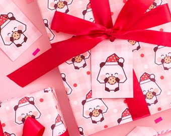 Gingham Panda Claus Christmas Wrapping Paper Set - Cute Panda Gift Wrap Set With Tags And Ribbon