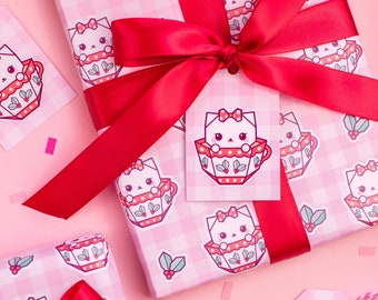 Gingham Teacup Cat Christmas Wrapping Paper Set - Cute Origami Cat Gift Wrap With Tags and Ribbon