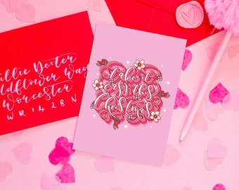 Pack of 6 - Take It Easy Christmas Calligraphy Card - Self Care Christmas Card With Winter Flowers