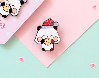 Origami Christmas Panda Enamel Pin - Panda Claus Pin Badge - Cute Christmas Pin With Glitter - Stocking Filler Gift