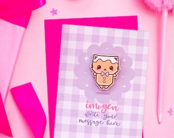 Write Your Own Christmas Card With Gingerbread Cat Pin - Personalised Gingham Card With Cute Wooden Pin
