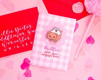 Write Your Own Christmas Card With Christmas Pudding Cat Pin - Personalised Gingham Card With Cute Wooden Pin