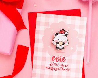 Write Your Own Christmas Card With Panda Claus Pin - Personalised Gingham Card With Cute Wooden Pin