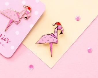 Christmas Origami Flamingo Enamel Pin - Glitter Christmas Pin Badge - Cute Stocking Filler Gift