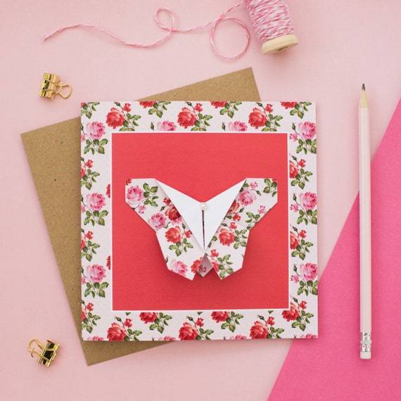 Happy Valentines Day greeting card with paper origami pink ... | 570x570