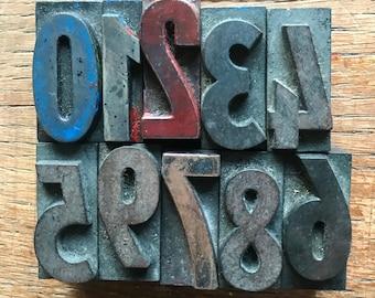 M - Vintage wooden number set for printing for calendar, scrapbooking, artjournaling