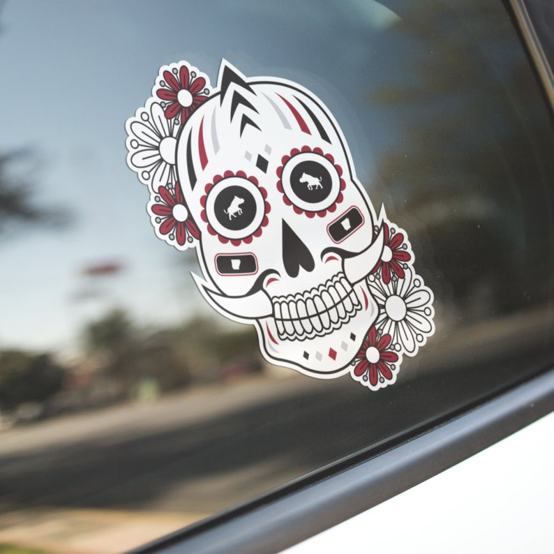 Vehicle Decals Gameday Stickers Size 5.5 X 5.5 Computer Decals Razorbacks Themed Day Of The Dead Inspired Die Cut Sticker Decals
