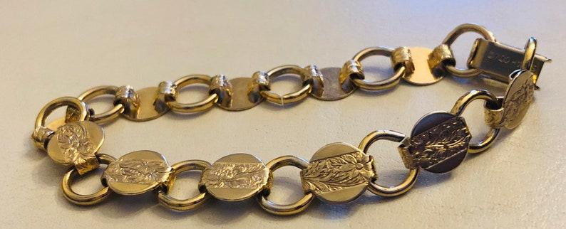 Gold Tone Chain Link Bracelet Vintage 1970s SARAH COV