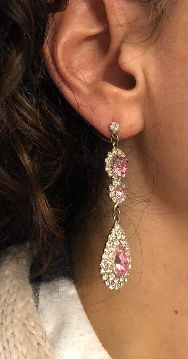 Vintage Pink and Clear Cubic Zirconia Dangle Earrings and Necklace