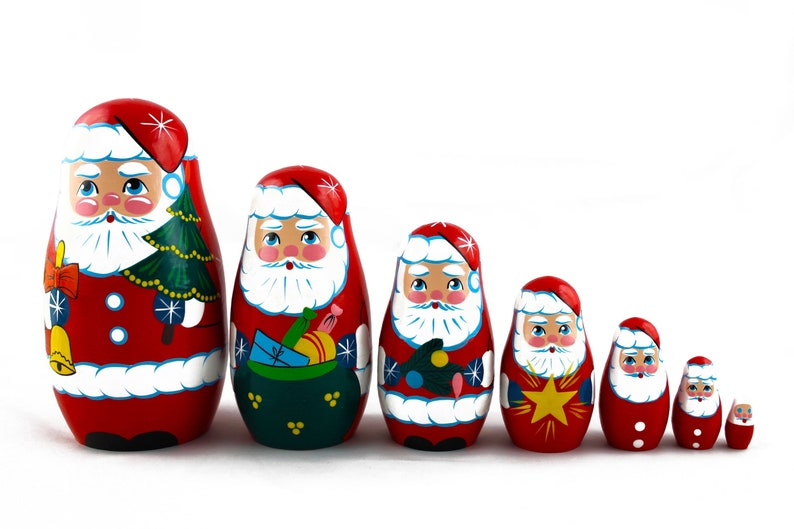 Matryoshka Russian Nesting Doll Santa Claus 7 pcs image 0