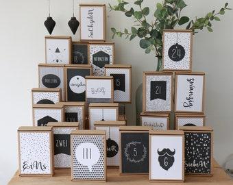 24 Advent Calendar Cards Black&White