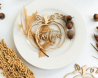 Place Cards Wedding, Place Cards Custom Laser Cut Names, Place Setting Sign, Wedding Place Cards, Pumpkin Place Cards, Thanksgiving Decor