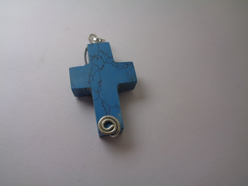 Handmade Blue Turquoise Cross Pendant Gift for Men and Women Silver Filled Wire Wrapped Pendant