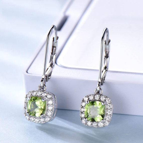 Oval Drop Clip on Earrings for Girls with Crystal May Birthstone Asymmetrical Earring