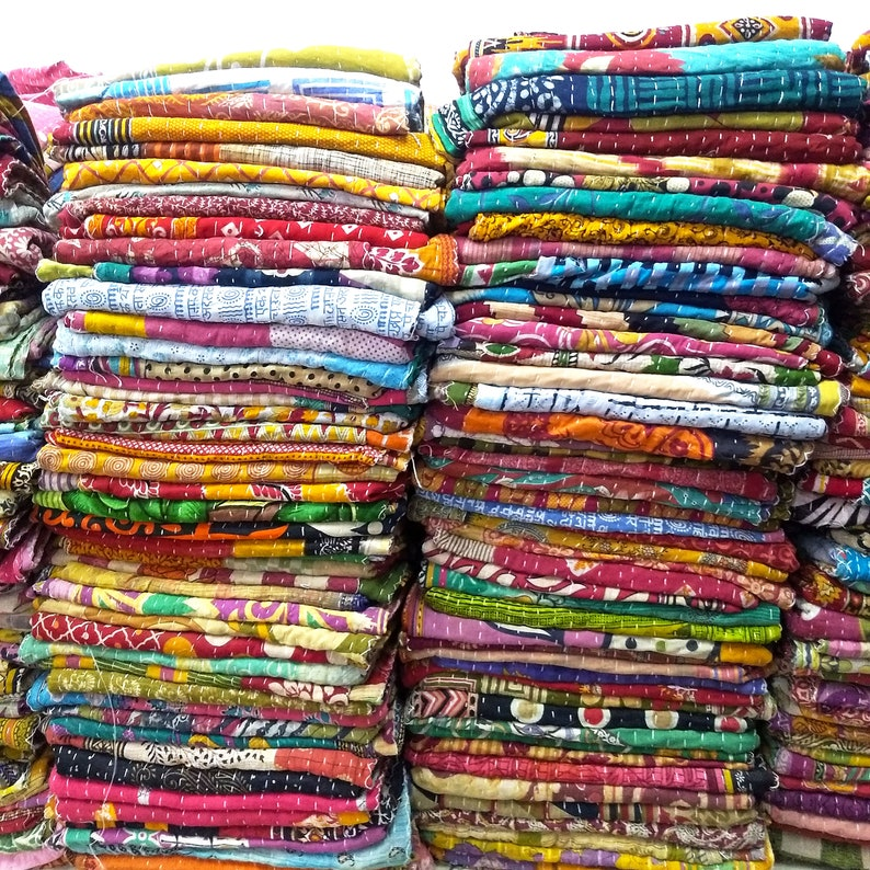 Handmade Kantha Quilt Indian Vintage Bedspread Wholesale Lot Throw Decor Art